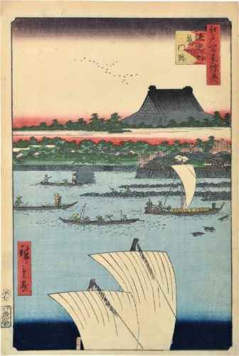 One Hundred Famous Views of Edo: Teppozu and Tsukiji Hongan-ji Temple by Utagawa Hiroshige
