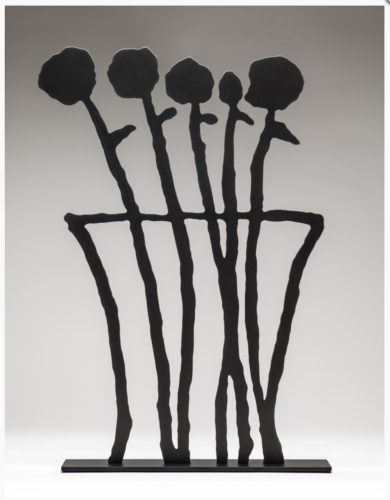 Black Flowers Sculpture by Donald Baechler at