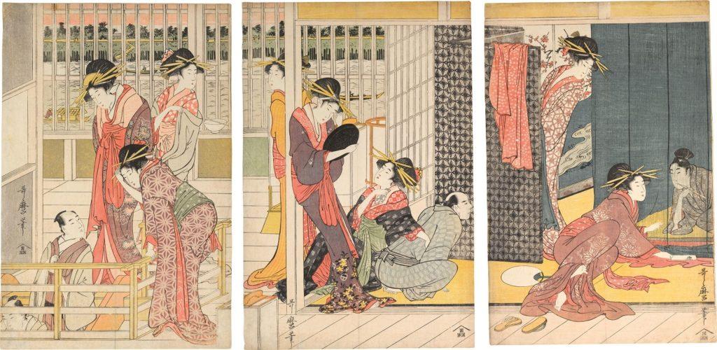 Morning Parting at the Temporary Lodgings of the Pleasure Quarters by Kitagawa Utamaro