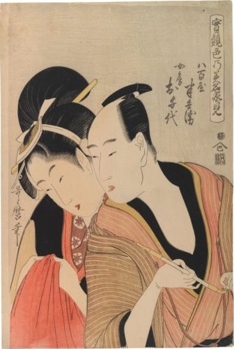 True Feelings Compared: Hambei and Ochiyo by Kitagawa Utamaro