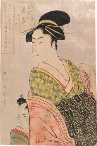 Wakaume of the Tamaya in Edo-machi itchome, kamuro Mumeno and Iroka by Kitagawa Utamaro