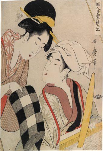 Twelve Types of Womens Handicraft: Weaving by Kitagawa Utamaro