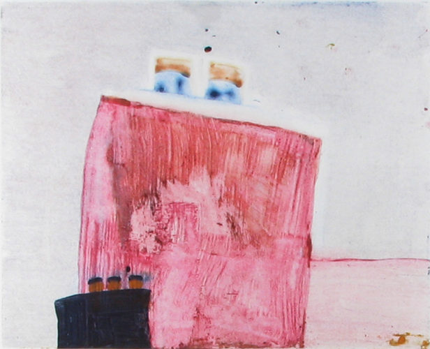 Two Boats Black Pink by Katherine Bradford