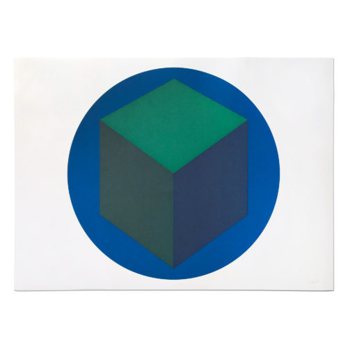 Centered Cube within a Blue Circle by Sol Lewitt