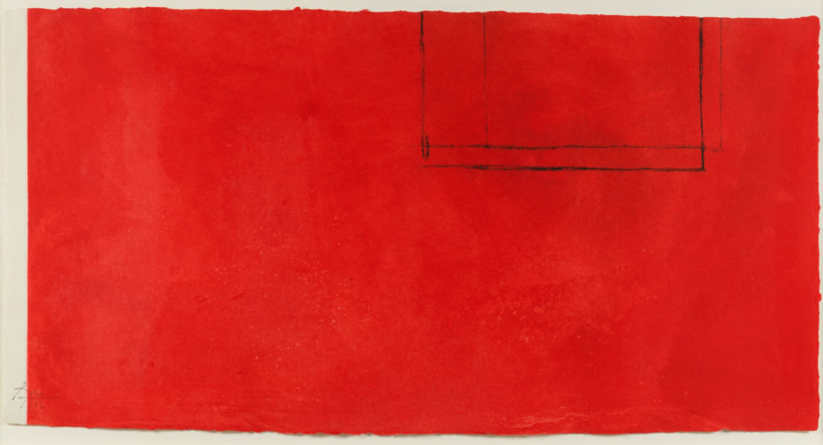 Red Open with White Line by Robert Motherwell at Leslie Sacks Gallery (IFPDA)