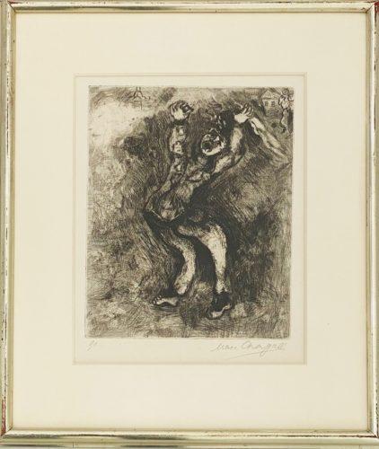 Le fou qui vend la sagesse (#91) from Jean De La Fontaine Fables by Marc Chagall at