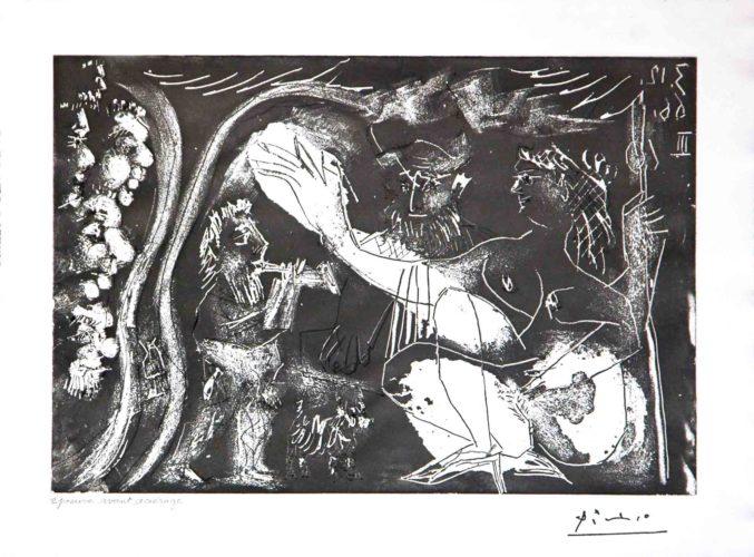 Au Theatre: Couple Avec un Flutiste et un Petit Chien, from the 60 Series by Pablo Picasso at Leslie Sacks Gallery (IFPDA)