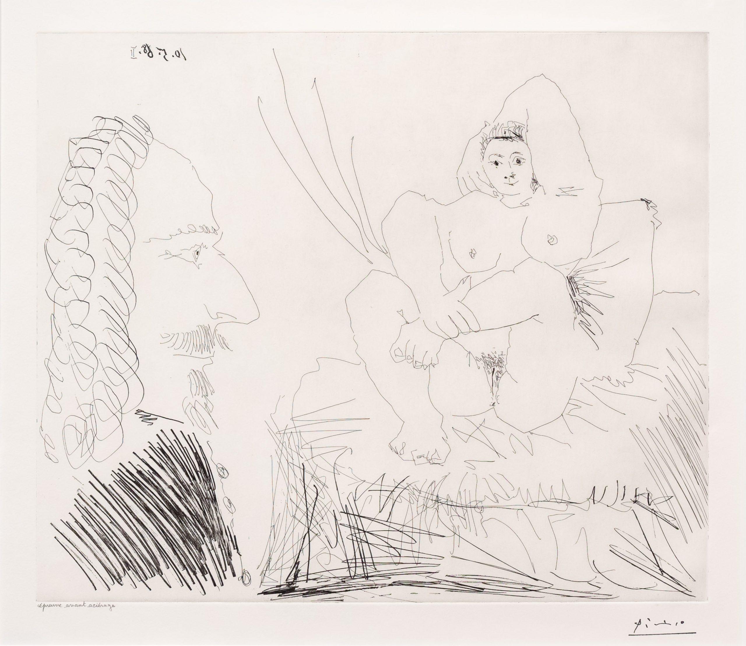 Courtisane au Lit avec un Visiteur, from the 347 Series by Pablo Picasso