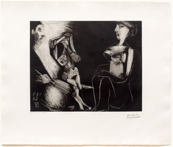 Homme avec Deux Femmes Nues, from the 347 Series by Pablo Picasso at Leslie Sacks Gallery (IFPDA)