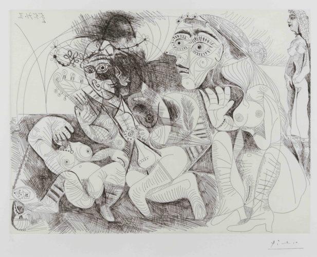 Filles Entre Elles- La Recreation en Masque, from the Series 156 by Pablo Picasso at Pablo Picasso