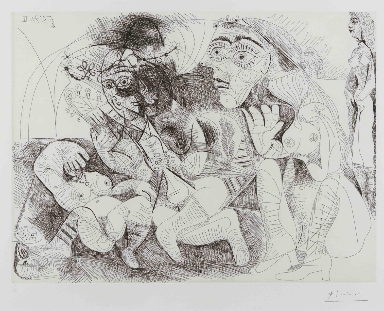 Filles Entre Elles- La Recreation en Masque, from the Series 156 by Pablo Picasso