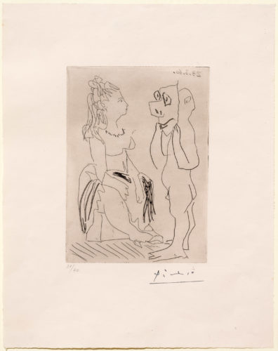 Homme Debout Avec Masque Devant Femme Assise by Pablo Picasso at Leslie Sacks Gallery (IFPDA)