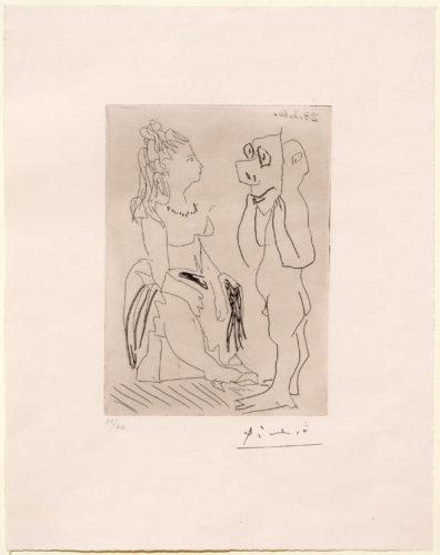 Homme Debout Avec Masque Devant Femme Assise by Pablo Picasso at Pablo Picasso