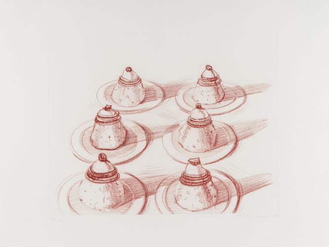 Six Italian Desserts, from Recent Etchings II by Wayne Thiebaud at