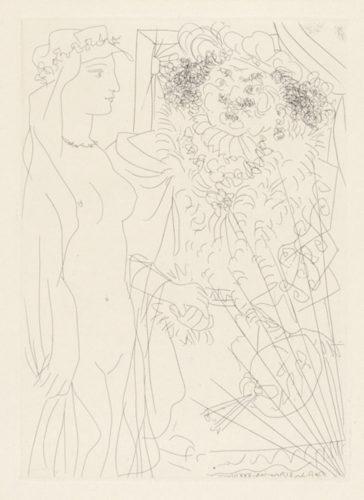 Rembrandt Tenant Par La Main Une Jeune Femme Au Voile by Pablo Picasso