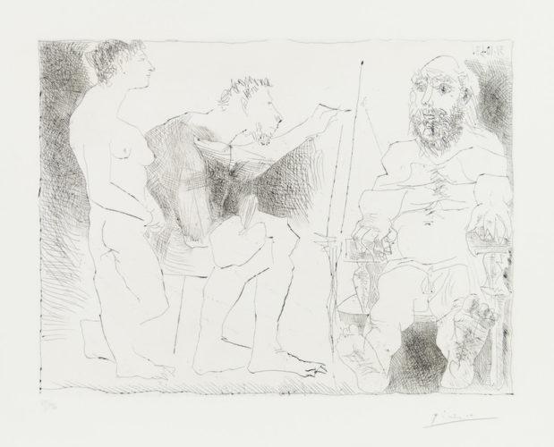 PEINTRE AU TRAVAIL (Peintre avec un modèle barbu et une spectatrice) by Pablo Picasso