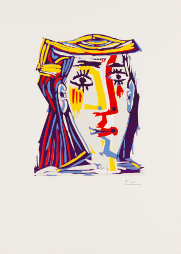 Portrait of Jacqueline in a multicolored straw hat by Pablo Picasso