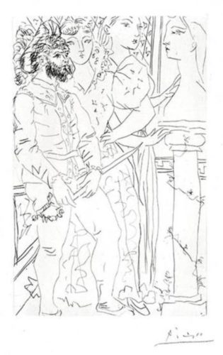 Trois Comédiens Avec Buste de Marie-Thérèse (Three Actors with a Bust of Marie-Thérèse) by Pablo Picasso