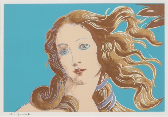 Details of Renaissance paintings (Sandro Botticelli, Birth of Venus, 1482) by Andy Warhol at Susan Sheehan Gallery (IFPDA)