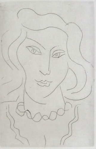 Face of a Young Woman with a Twisted Necklace by Henri Matisse at