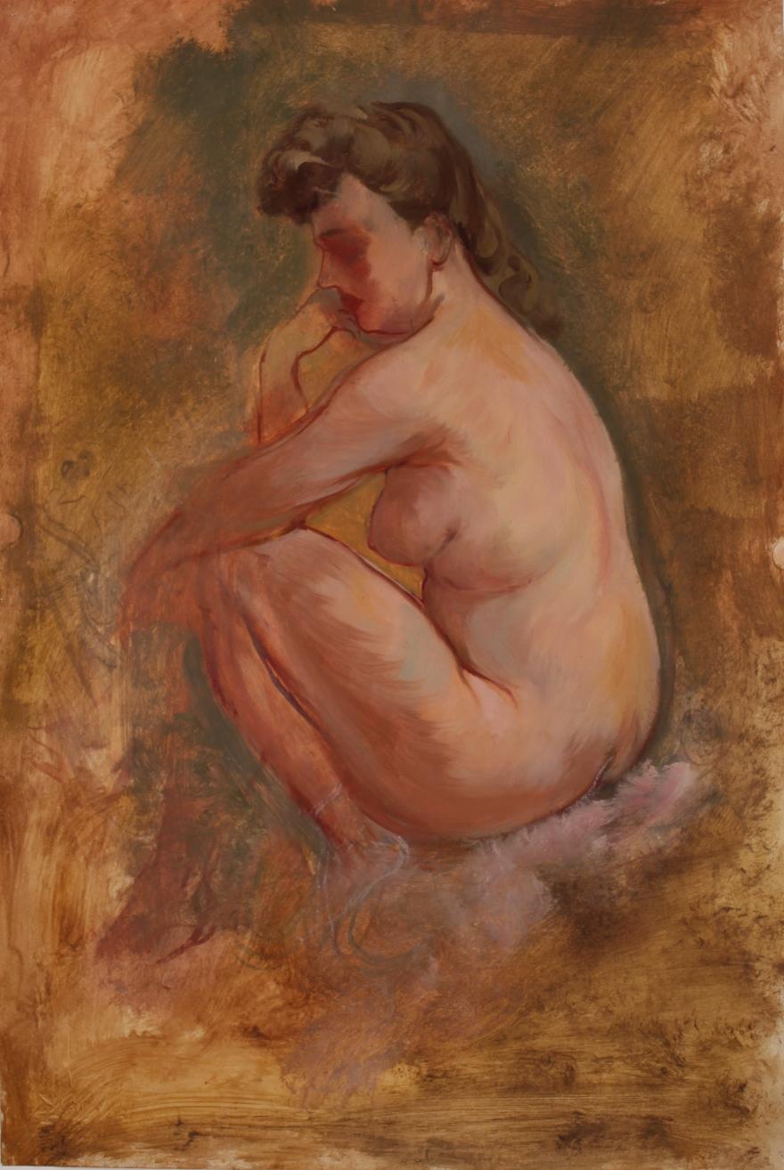 Weiblicher Akt, nachdenklich sitzend (Female Nude, sitting contemplative) by George Grosz