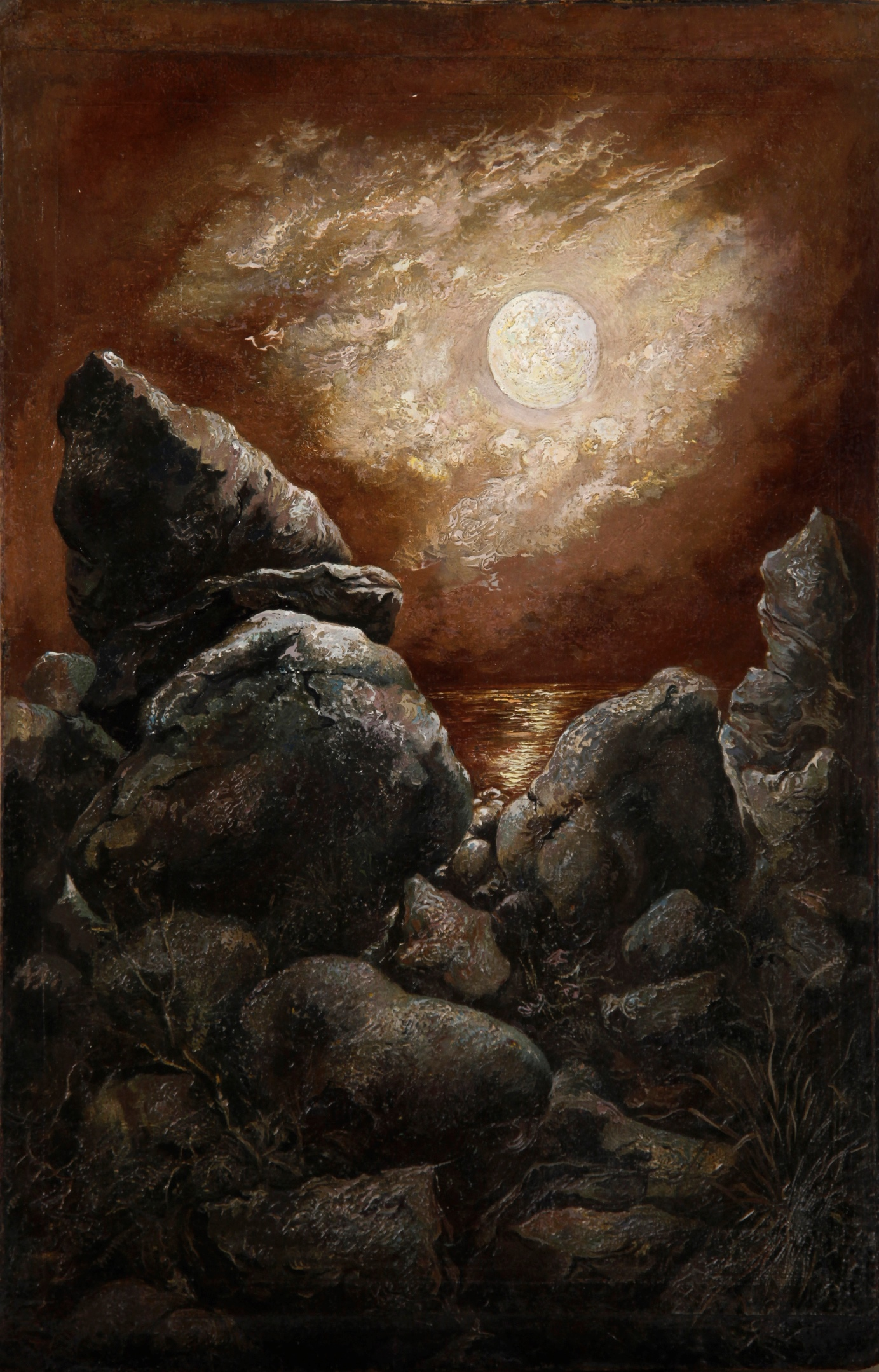 Rocks at Bornholm, Denmark (The Sea, the Rocks and the immortal Moon) by George Grosz