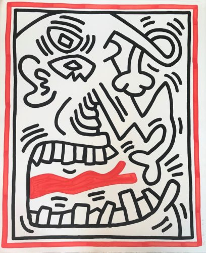 Untitled (Red Tongue) by Keith Haring