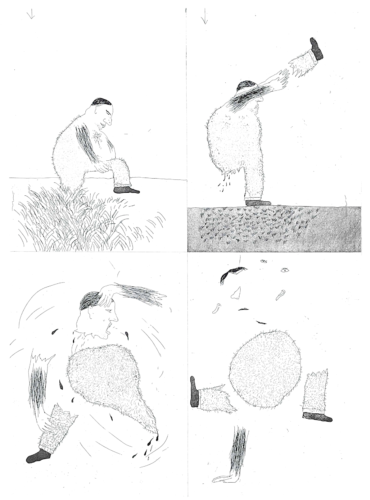 He tore himself in two by David Hockney