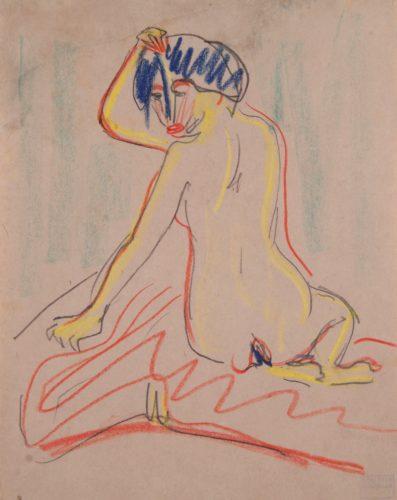 Sich umwendender sitzender Akt (Turning, sitting Nude) by Ernst Ludwig Kirchner
