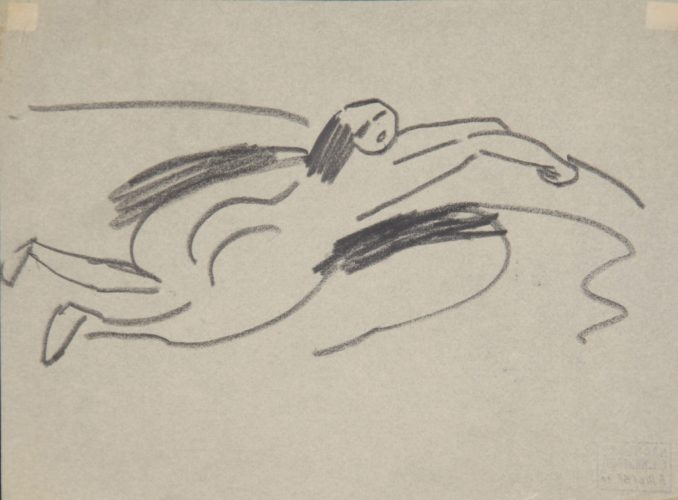 Am Ufer liegender kleiner Akt (Small Nude lying on the Shore) by Ernst Ludwig Kirchner at