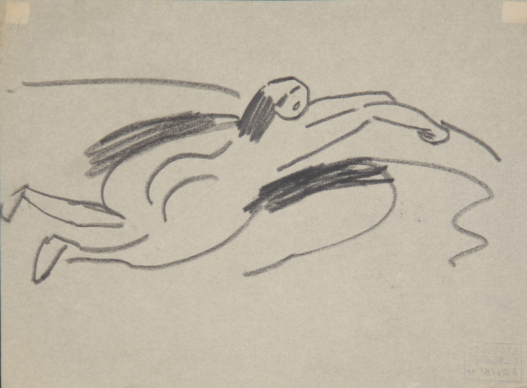 Am Ufer liegender kleiner Akt (Small Nude lying on the Shore) by Ernst Ludwig Kirchner