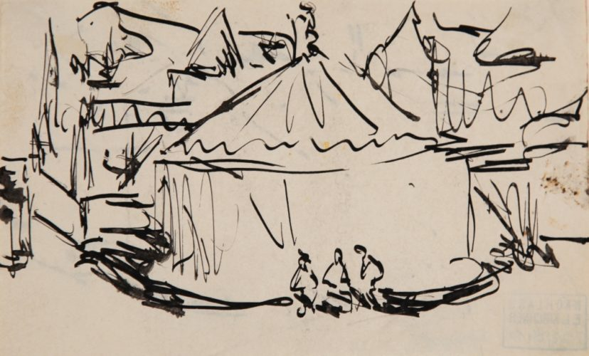 Karussell mit Jahrmarkt (Dresden Vogelwiese) (Carousel with Fair (Dresden Vogelwiese)) by Ernst Ludwig Kirchner
