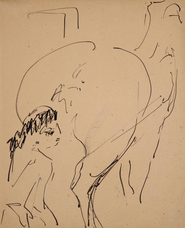 Milly mit Pferd (Zirkus Schumann) (Milly with Horse (Circus Schumann)) by Ernst Ludwig Kirchner