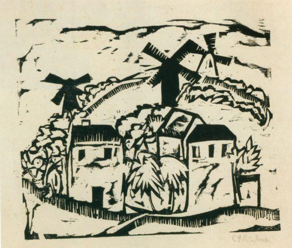 Landschaft mit Windmühlen (Landscape with Windmills) by Ernst Ludwig Kirchner