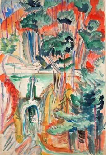 Taunuslandschaft mit Brücke (Landscape with Bridge in the Taunus Hills) by Ernst Ludwig Kirchner