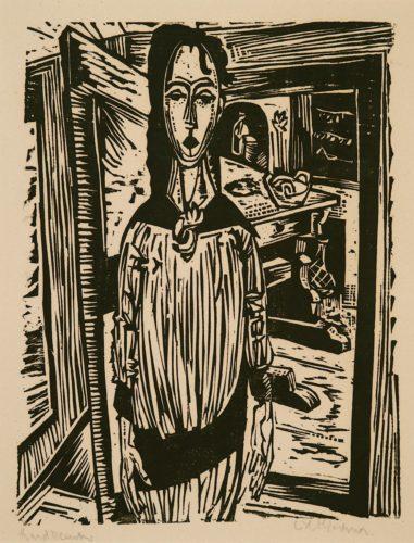 Schlankes Mädchen vor offener Zimmertür (Slender Girl in front of an open Door (Edith Spengler)) by Ernst Ludwig Kirchner at Galerie Henze & Ketterer & Triebold