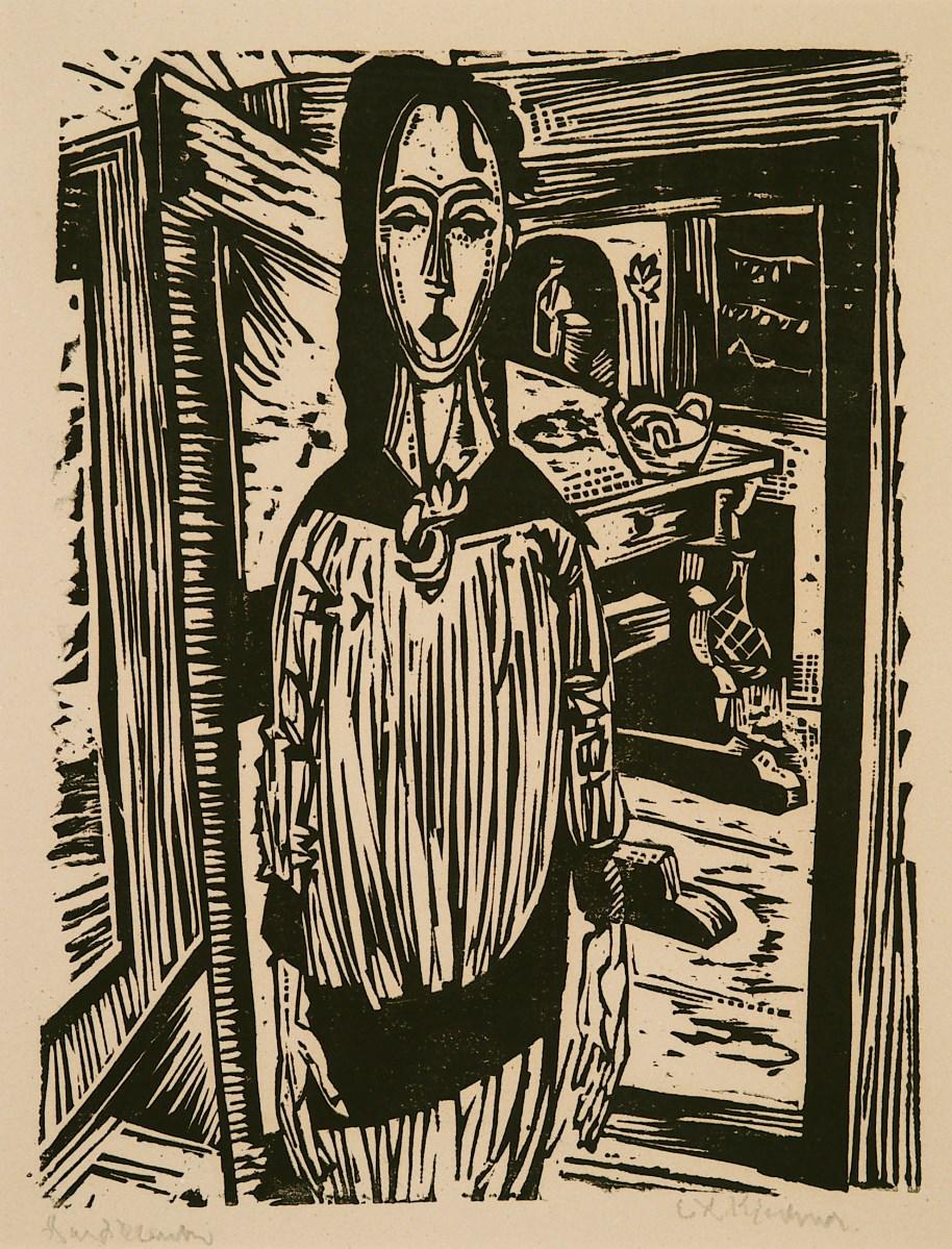 Schlankes Mädchen vor offener Zimmertür (Slender Girl in front of an open Door (Edith Spengler)) by Ernst Ludwig Kirchner