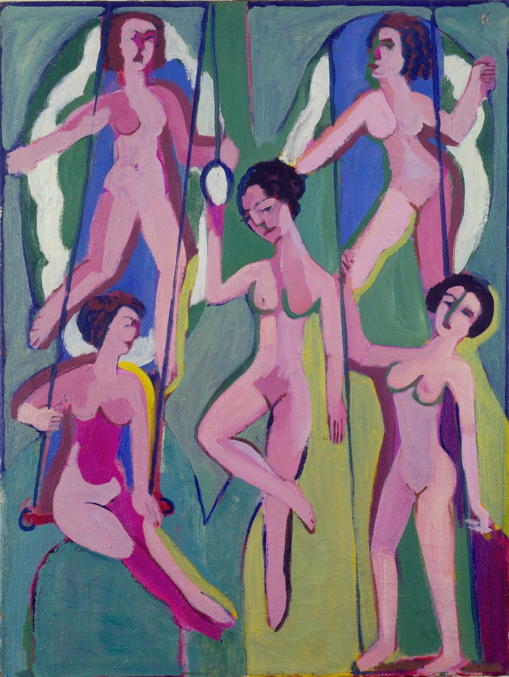 Artisten an Ringen (und Trapez) (Artists on Rings (and on Trapeze)) by Ernst Ludwig Kirchner