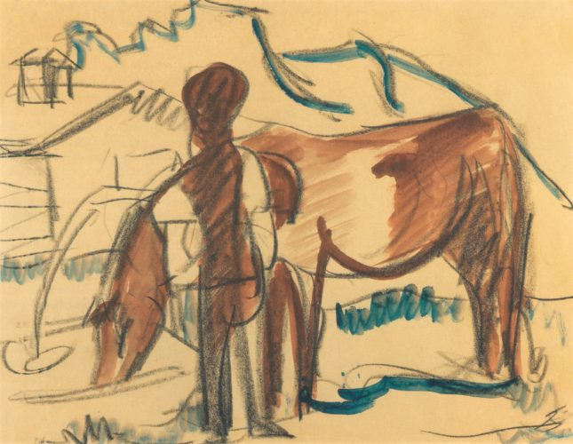 Bauer und trinkende Kuh (Farmer and watering Cow) by Ernst Ludwig Kirchner