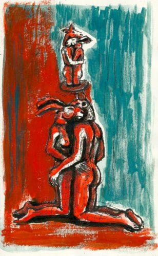 Kneeling and Hugging Lovers by Sophie Ryder at