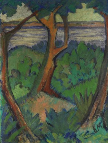 Landschaft mit drei Bäumen (Landscape with three Trees) by Otto Mueller