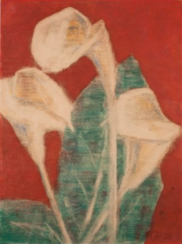 Callas auf rotem Grund (Callas auf Rot) (Callas on Red Ground) by Christian Rohlfs