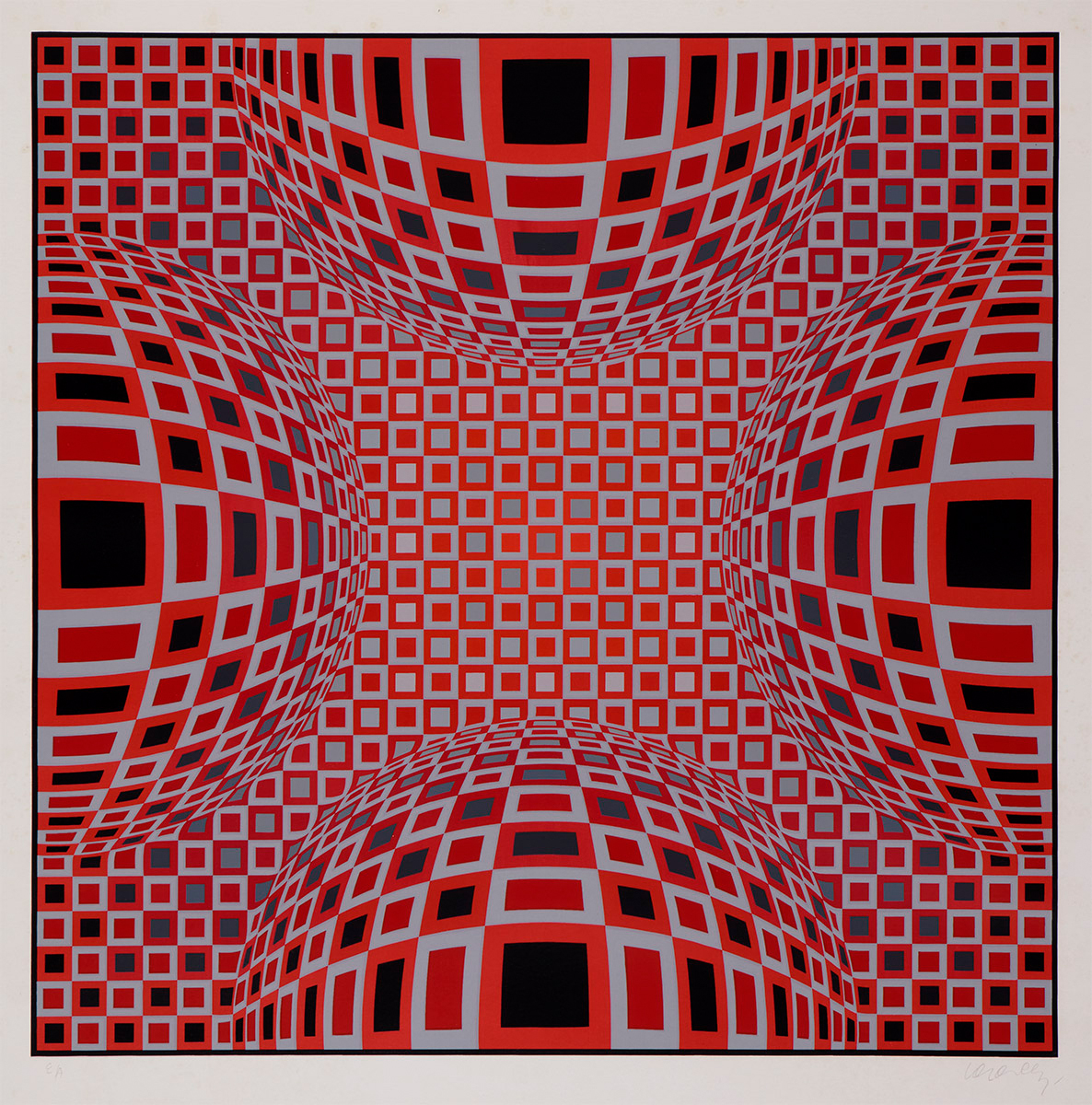 Four Globes in Red by Victor Vasarely