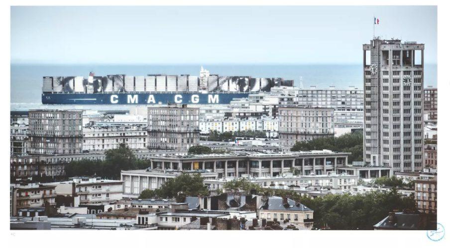 Women Are Heroes, Elizabeth Kamanga on Sea, Le Havre, France, 2017 by JR at