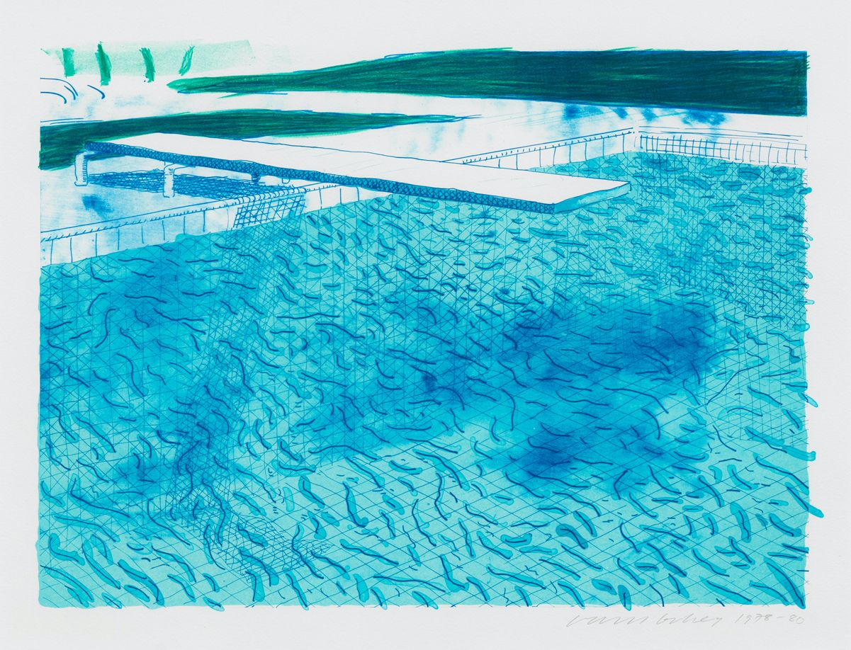 Lithograph of Water Made of Lines with Two Light Blue Washes by David Hockney