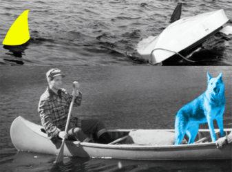 Man, Dog (Blue), Canoe/Shark Fins (One Yellow), Capsized Boat by John Baldessari at