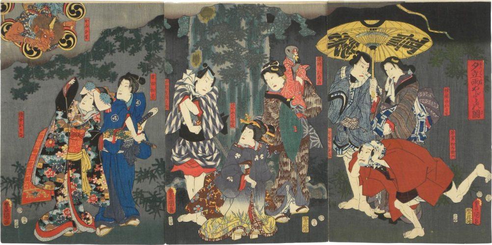 Taking Shelter from the Rain in a Sudden Shower by Utagawa Kunisada (Toyokuni III)