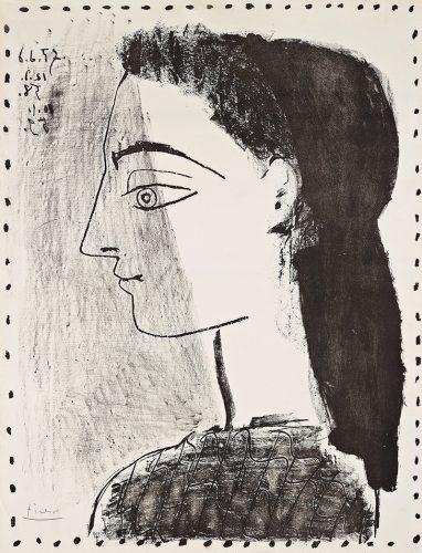 """Jacqueline au Mouchoir Noir"" (State 3) by Pablo Picasso at Grabados y Litografias.com"