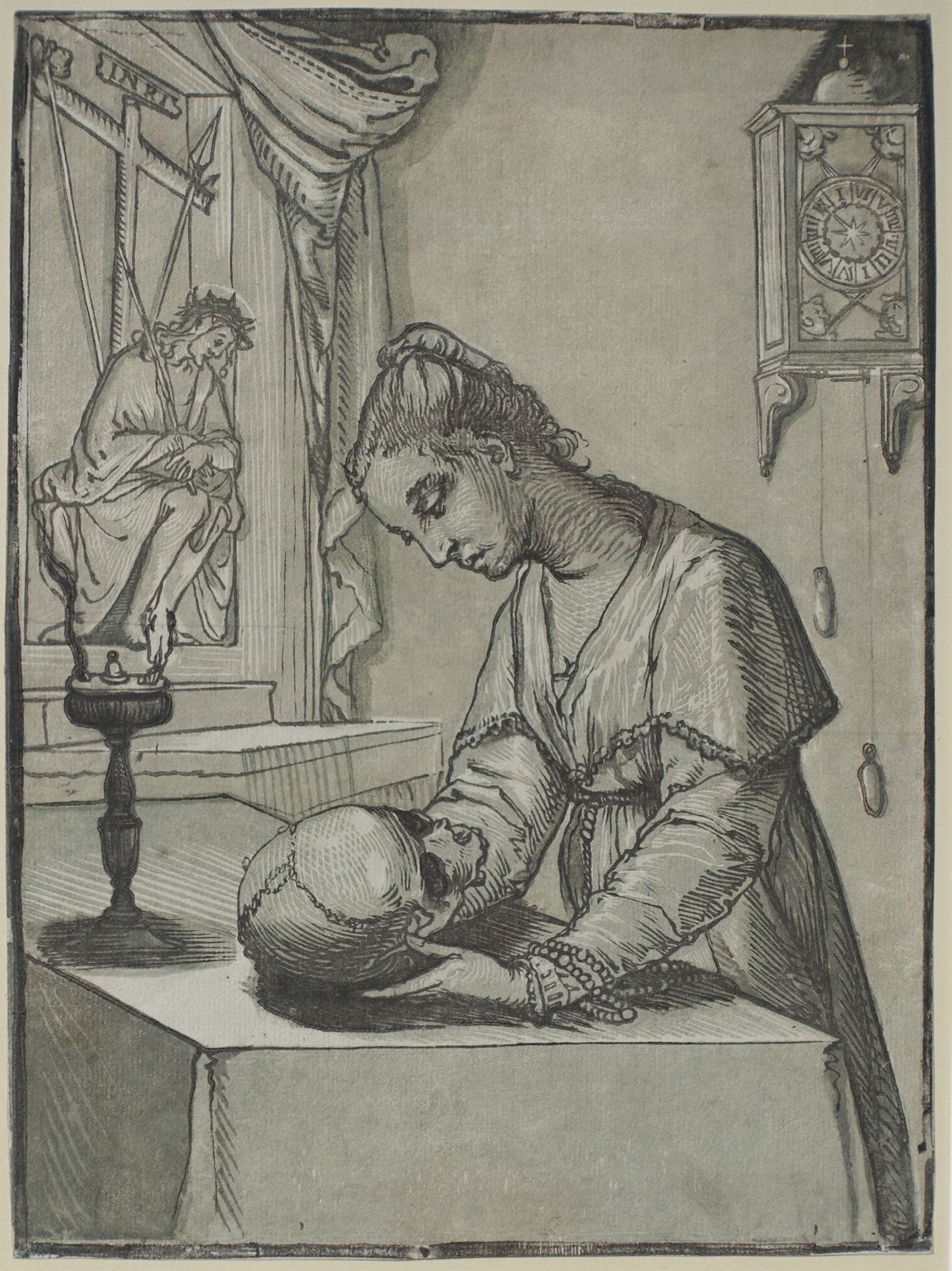 Woman contemplating a Skull by Andrea Andreani