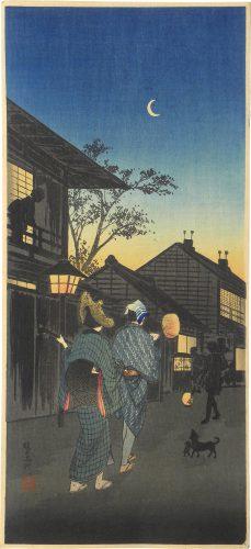 Shinagawa in the Night by Takahashi Hiroaki (Shotei)